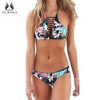 Sexy Summer Black Floral Bandage Strappy Biquini Swim Bathing Suit High Neck Swimsuit Female Swimwear Women