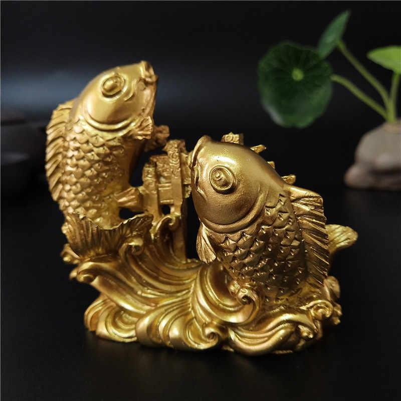 จีน Feng Shui พระพุทธรูปรูปปั้นมือแกะสลักประติมากรรมสัตว์ Figurines ปลาเครื่องประดับอุปกรณ์ตกแต่ง