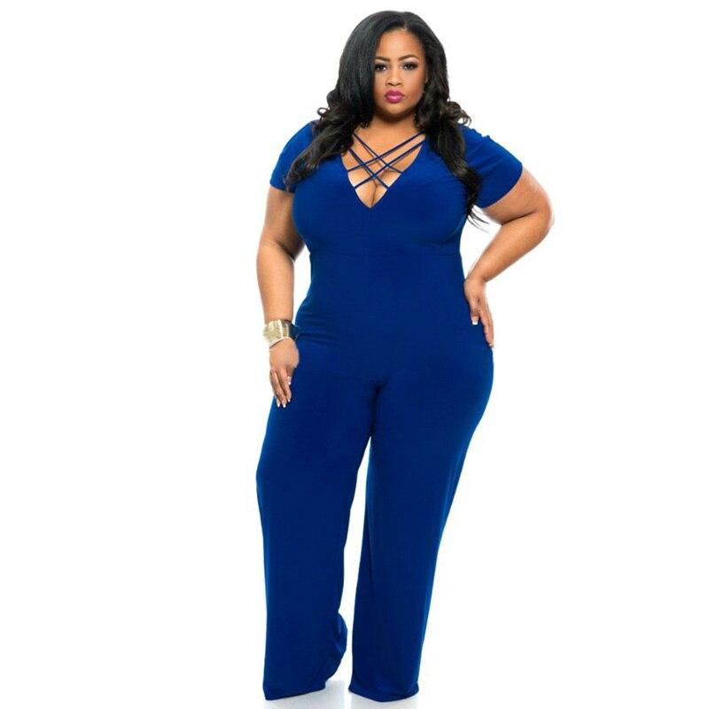 XXXL Plus Size Sexy Jumpsuits New Summer Women's Rompers Jumpsuit Casual Black Bodysuit Short Sleeve V-Neck Tunic Long Playsuits 2