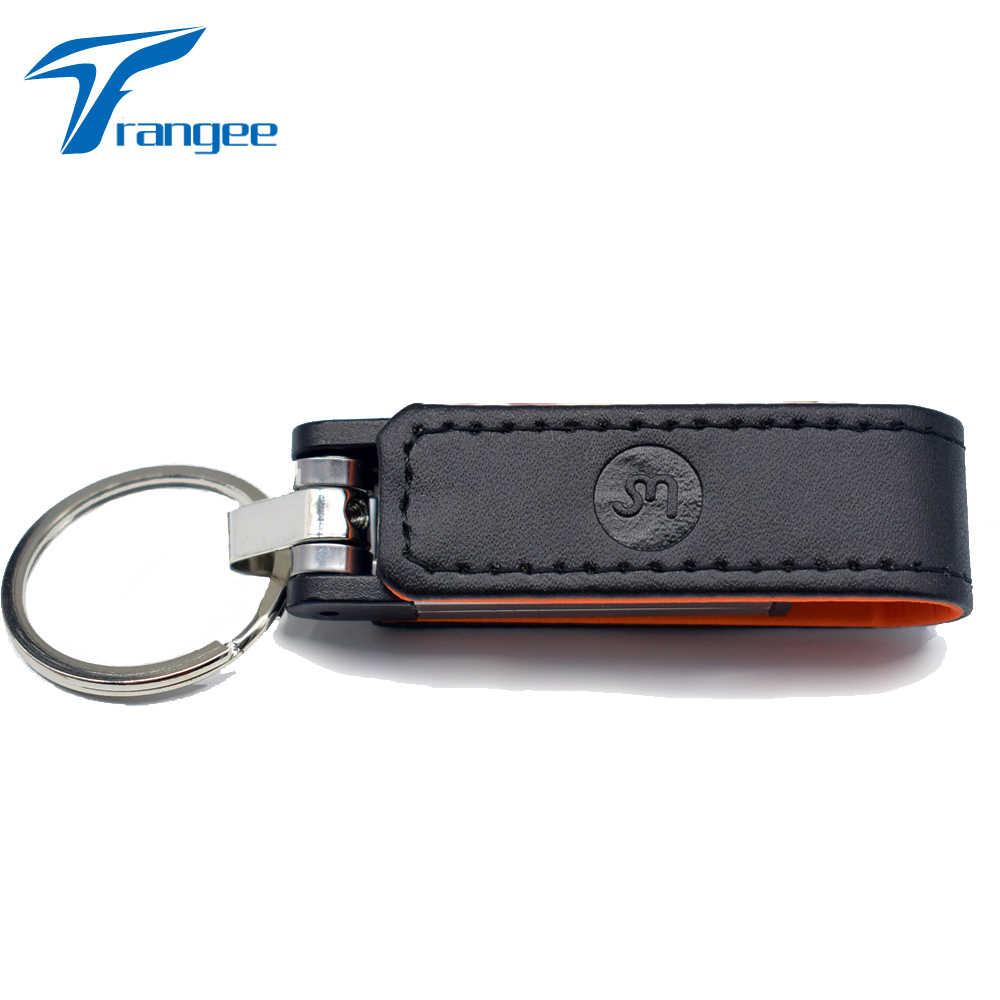 Trangee 10 pçs/lote 64G de couro Grava o Logotipo Personalizado usb flash drive chaveiro de pele 8 pendriver gb 16 gb 32 gb comercial memory stick