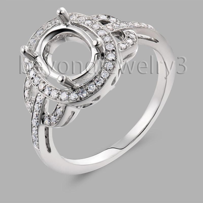 Demi monture bague réglages en 14kt or blanc taille ovale 7x9mm 585 or diamant bague de fiançailles bijoux fins SR230a