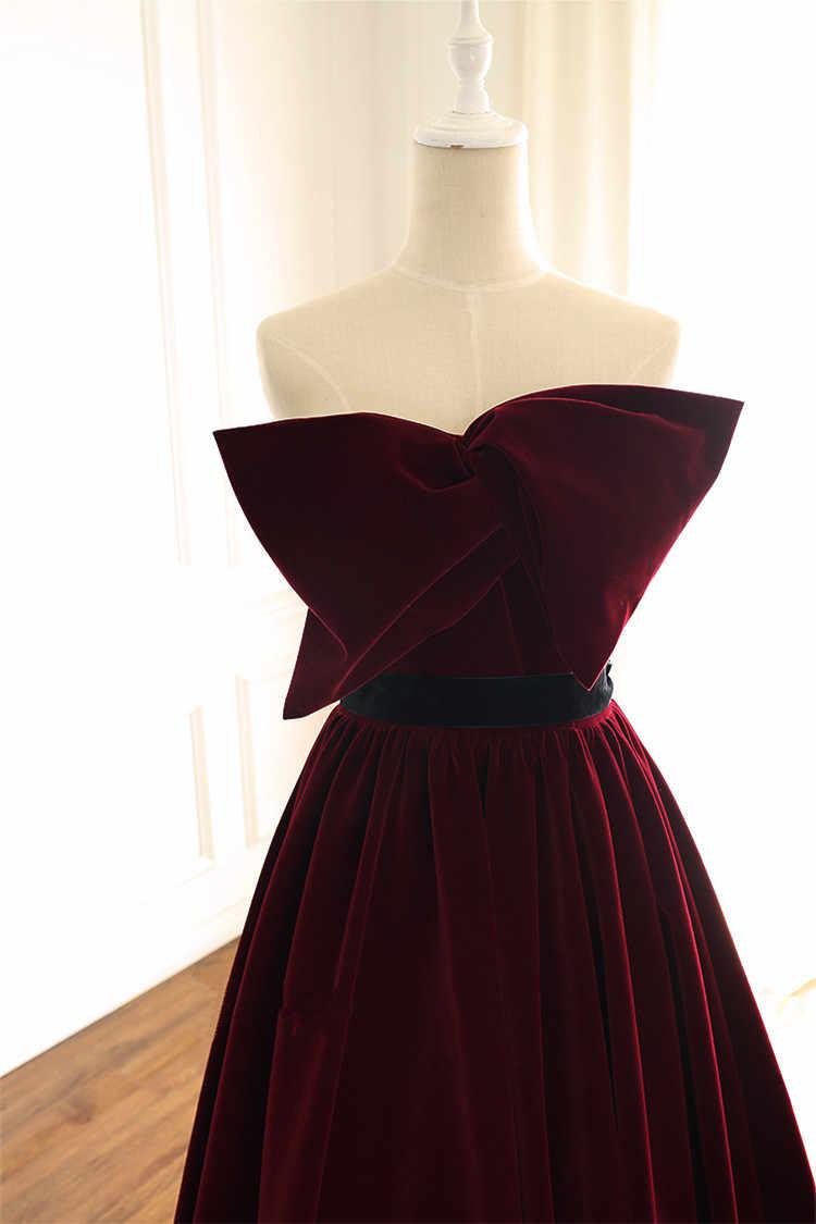 JaneVini Элегантный бордовый бархат для женщин Гала платье с большим бантом развертки поезд невесты Выпускные платья Длинные свадебная вечерин