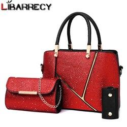 Famosa marca 3 psc/conjunto bolsas femininas de grande capacidade sacos compósitos para mulheres 2018 moda lantejoulas designer crossbody sacos sac