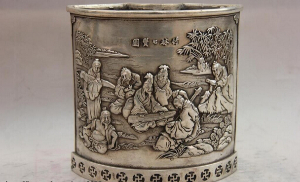 S1552 China White Copper Silver Bamboo Forest 7 Sage Old People Pen Case Brush Pot D0318