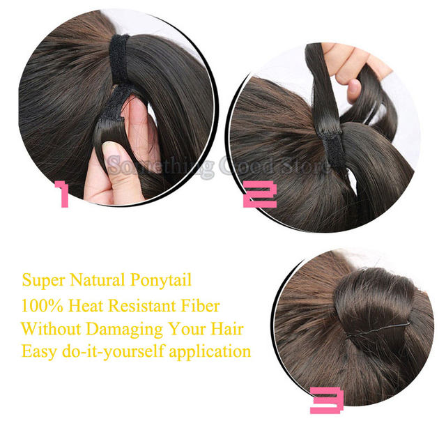 Online Shop Snoilite 24inch 26inch Synthetic Long Ponytail Clip In