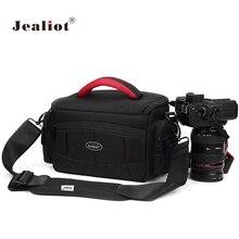 Jealiot kamera çantası su geçirmez slr fotoğraf makinesi çantası omuz dijital kamera Video fotoğraf instax fotoğraf lens çantası durumda Canon 6d Nikon