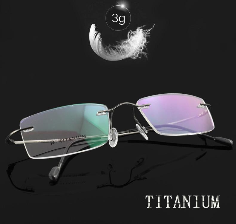 men glasses frame titanium rim less thin legs man fashion brand designer eyeglasses prescription online high