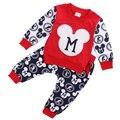 2 unids Trajes Set Linda Del Niño Del Bebé Muchachas Del Muchacho de Mickey de La Camiseta Tops + Pants Traje roupas infantis menina Ropa de Bebé otoño