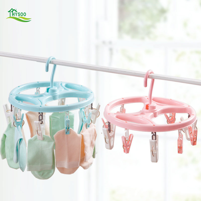 Adult windproof clothes hanger plastic multi clip childrens socks underwear frame hanging underwear home drying rack
