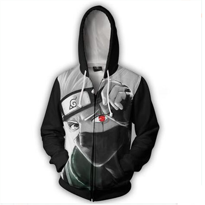 2018 Naruto Kakashi sweatshirts cosplay costume Naruto Anime zipper hoodies 3D Men Women hoodies clothing Top New