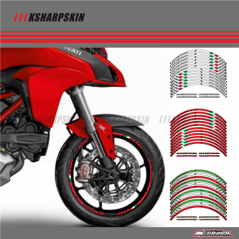 Us 1661 35 Off12 X Thick Edge Outer Rim Sticker Stripe Wheel Decals Fit All Ducati Multistrada 1260 1200 1200s In Decals Stickers From