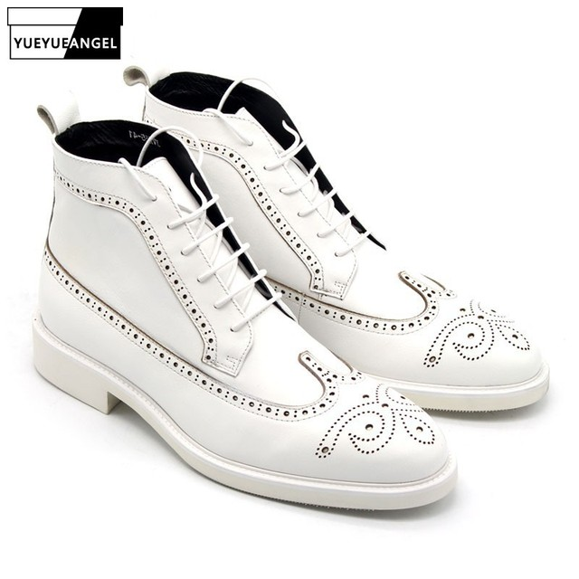 89cae6f17f43bf Classic Derby Shoes Men White Ankle Boots 2019 Designer Handmade Lace Up  High Top Sneakers Genuine Leather Boots Men Plus Size