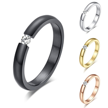 2016 Women's Fashion Titanium Steel Rings Rhinestone Inlaid Wedding Band US Size 6 to 12
