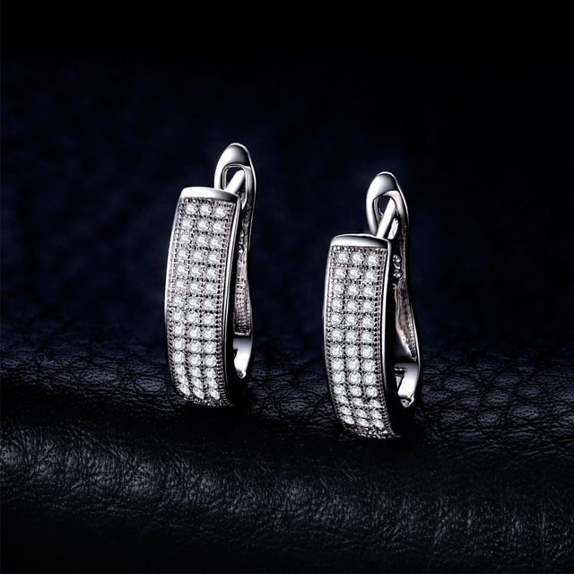 JewelryPalace 0.5ct Anniversary Channel Set Eternity Clip  Earrings Real 925 Sterling Silver Jewelry For Women On Sale