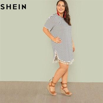SHEIN Black and White Stripe Plus Size Straight Casual Mini Dress Women Summer Tassel Embellished Curved Hem Short Dresses Платье