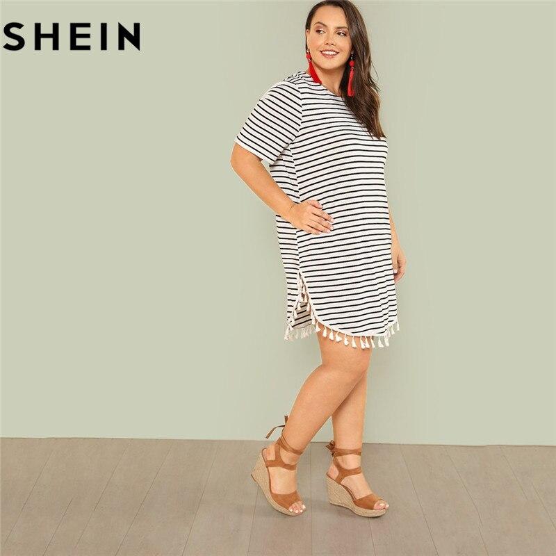 SHEIN Black and White Stripe Plus Size Straight Casual Mini Dress Women Summer Tassel Embellished Curved Hem Short Dresses