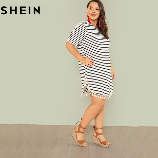 US $9.0 40% OFF|SHEIN Black and White Stripe Plus Size Straight Casual Mini  Dress Women Summer Tassel Embellished Curved Hem Short Dresses-in Dresses  ...