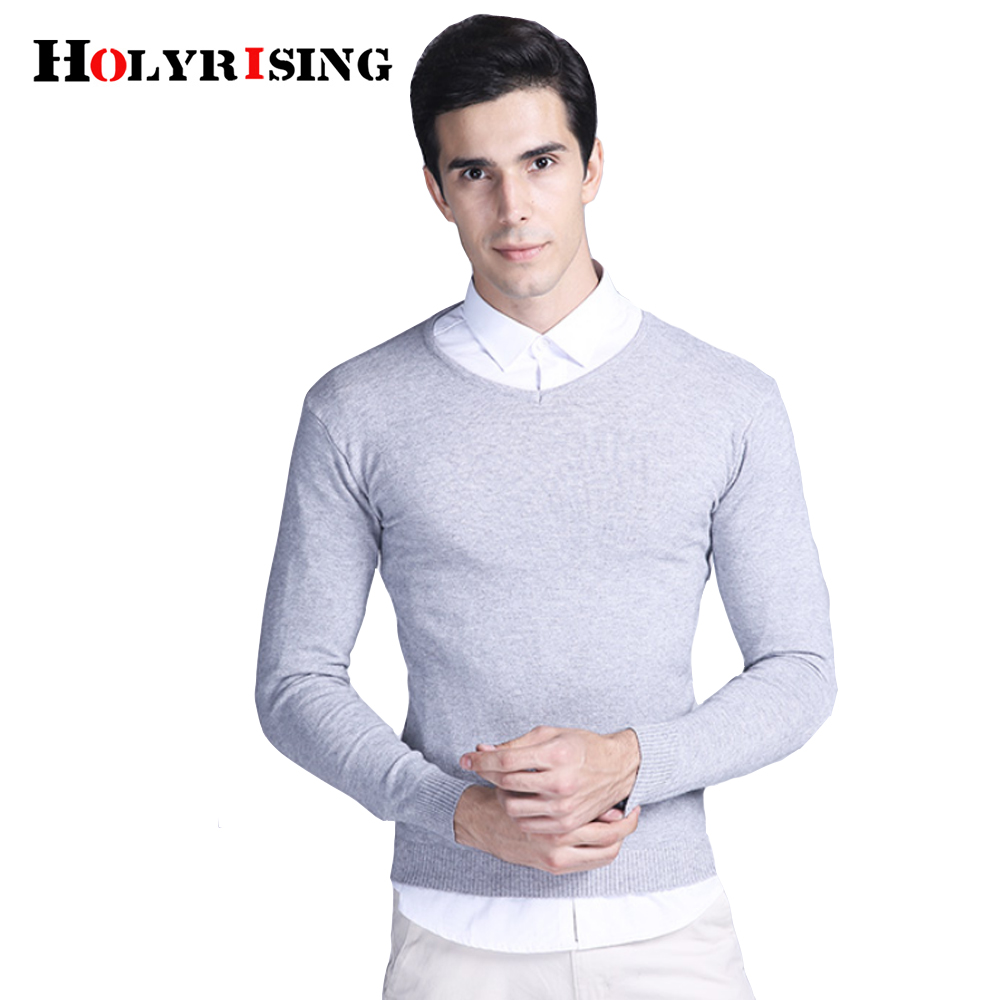 2018 Spring mens sweater pullovers Simple style knitted V neck sweater jumpers Thin male knitwear holyrising #18180
