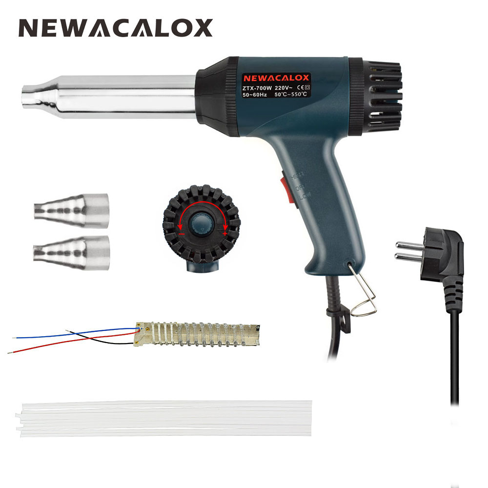 NEWACALOX EU Plug 700W 220V Plastic Welding Torch Adjustable Temperature Hot Air Gun with 5pcs Plastic Welding Rods for Shrink 220v electric plastic pp welding torch bumper welding gun thermostat hot air gun 750w y