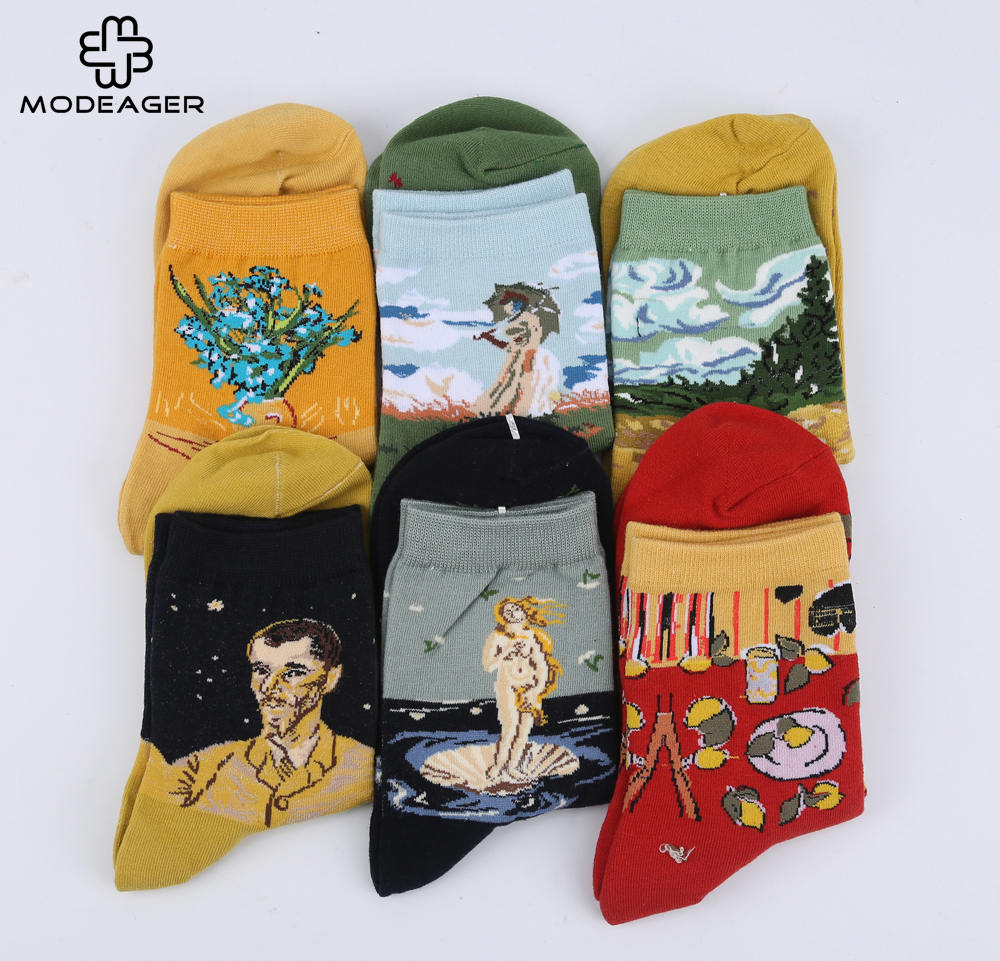 Modeager Retro Oil Painting Art   Socks   for Women Van Gogh Mona Lisa Venus Plant printed Cartoon Females Ladies Art   Socks   Cotton