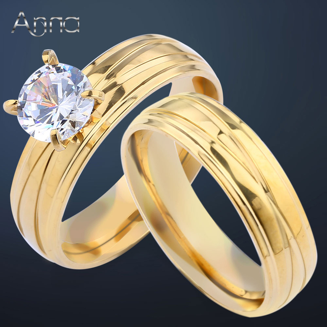 AN Unique Engagement Wedding Ring Set Womens Pair Rings Stainless Steel Double For Women