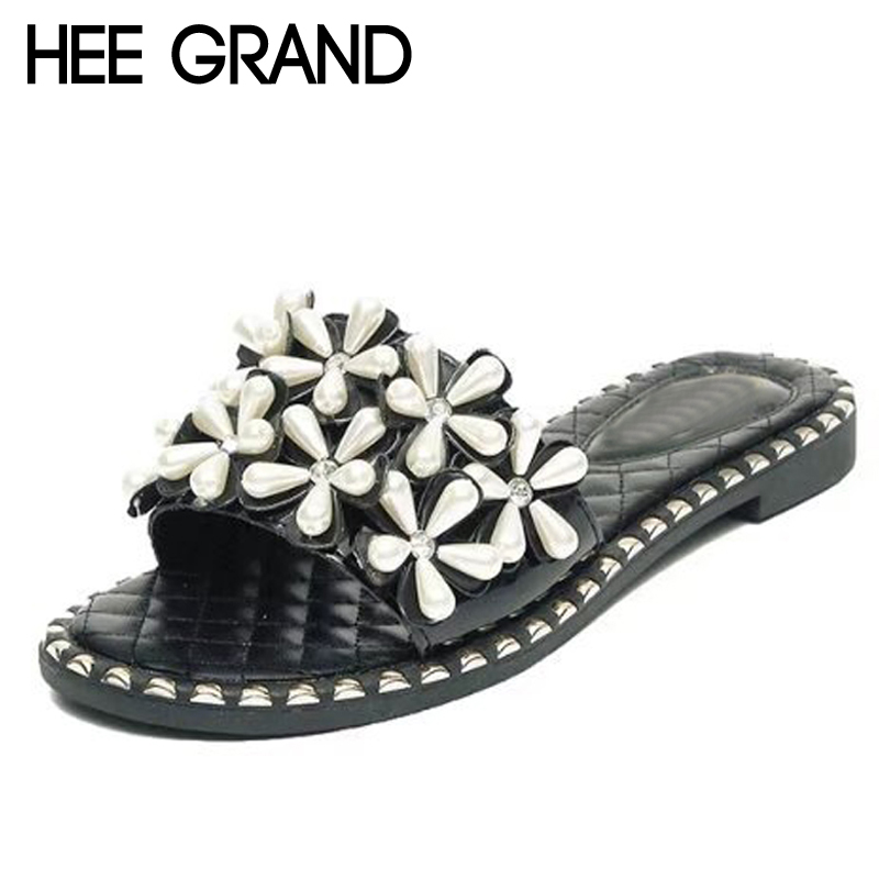 HEE GRAND Appliques Pearl Slides Casual Beach Slippers Platform Shoes Woman Slip On Outside Flats Creepers Women Shoes XWT1080 hee grand 2017 creepers summer platform gladiator sandals casual shoes woman slip on flats fashion silver women shoes xwz4074