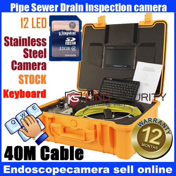 40M keyboard recorder Waterproof Pipe Sewer Snake Inspection Camera Kit 7 LCD Color Mon DVR 40m keyboard recorder waterproof pipe sewer snake inspection camera kit 7 lcd color mon dvr