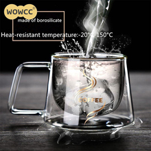 200ML The Office Of Transparent Fashion Grams Coffee Cup Glass Heat-resistant Borosilicate Heat Insulation Double Coffee Mug