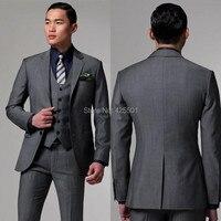 New 2016 Mens Light Grey Suits Jacket Pants Formal Dress Men Suit Set Men Wedding Suits