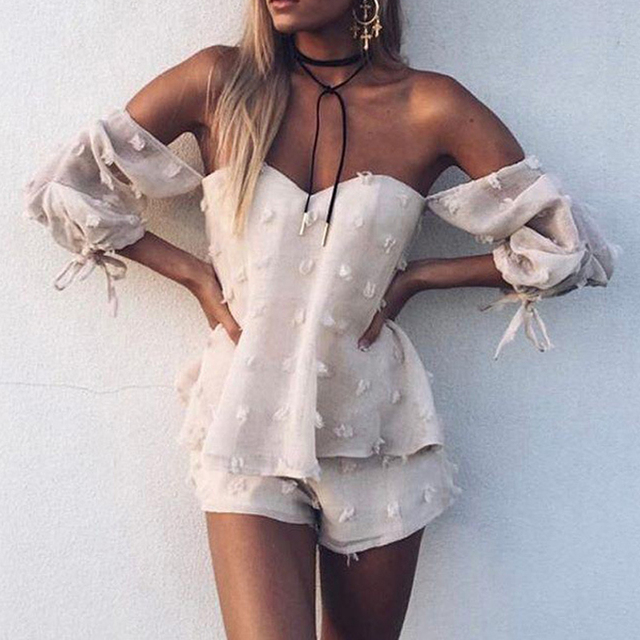 05377a47592 Off shoulder organza striped jumpsuits romper Summer beach bow sleeve  overalls Women playsuit
