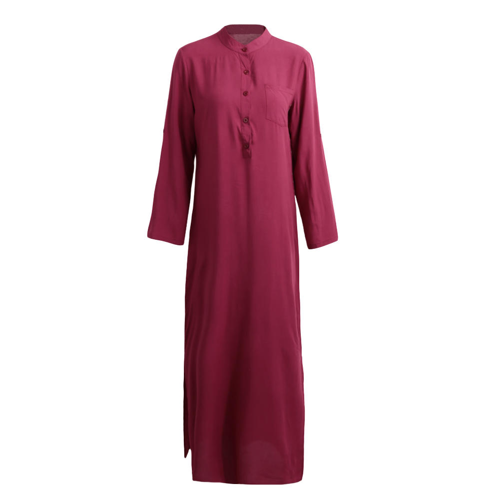 ca618281cf US $12.5 41% OFF 4XL 5XL Long Plus Size Dress Women Retro Maxi Shirt Dress  Elegant Ladies Long Sleeve Stand Collar Split Solid Autumn Shirt Dress-in  ...