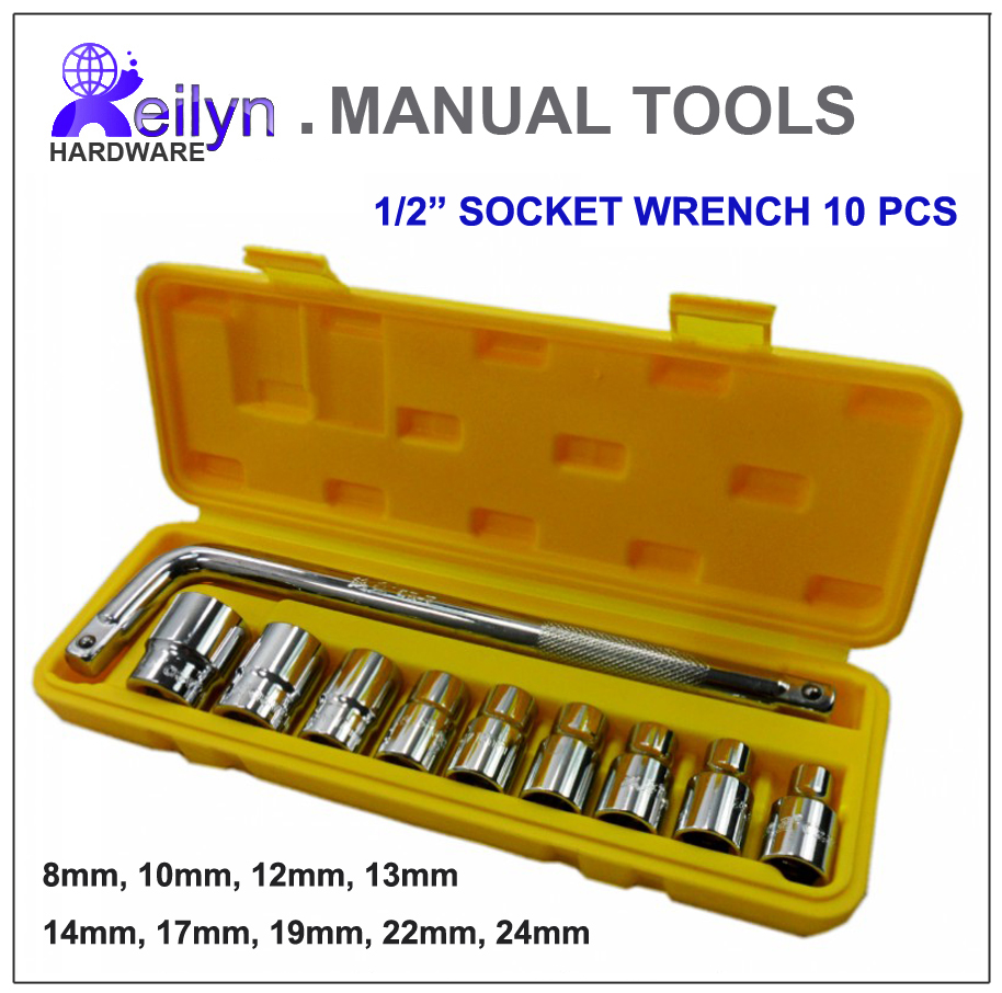 Free Shipping chrome-vanadium steel 12.5mm socket wrench set 10 pcs of 1/2 sockets Wrench set Automotive repairing tool chrome vanadium steel ratchet combination spanner wrench 9mm
