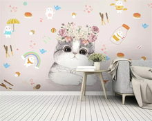 beibehang Custom 3d wallpaper mural Modern cartoon kitten flower children room wall TV living room background wall 3d wallpaper beibehang custom wallpaper mural 3d blue flower hotel living room wall 3d wallpaper wall sticker wallpapers for living room