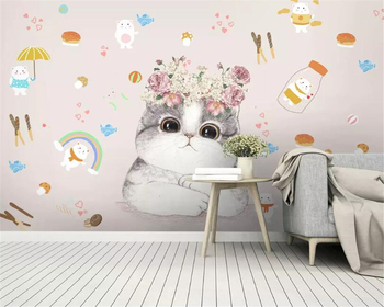beibehang Custom 3d wallpaper mural Modern cartoon kitten flower children room wall TV living room background wall 3d wallpaper custom 3d mural children room wallpaper bedroom background wall mural cartoon candy cake shop wallpaper mural