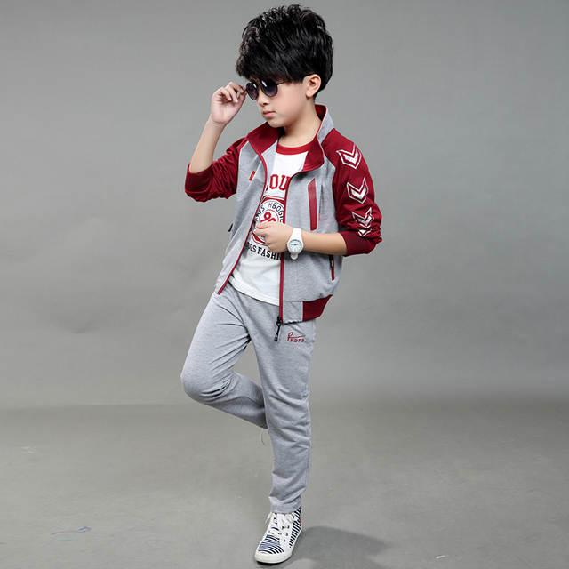 placeholder 2018 primavera otoño niños ropa de deporte conjunto de 3 piezas  de moda de los muchachos 9d3638130b4