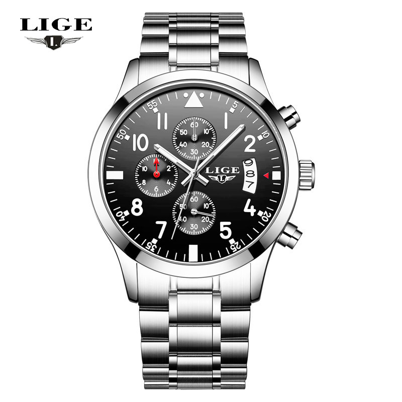 LIGE NEW Men Watch Top Brand Luxury Men's Sport Quartz Watches Man Fashion Multifunction Date Waterproof Clock Relogio Masculino 2017new lige luxury brand men sport waterproof quartz watch man fashion business watches men leather clock relogio masculino box