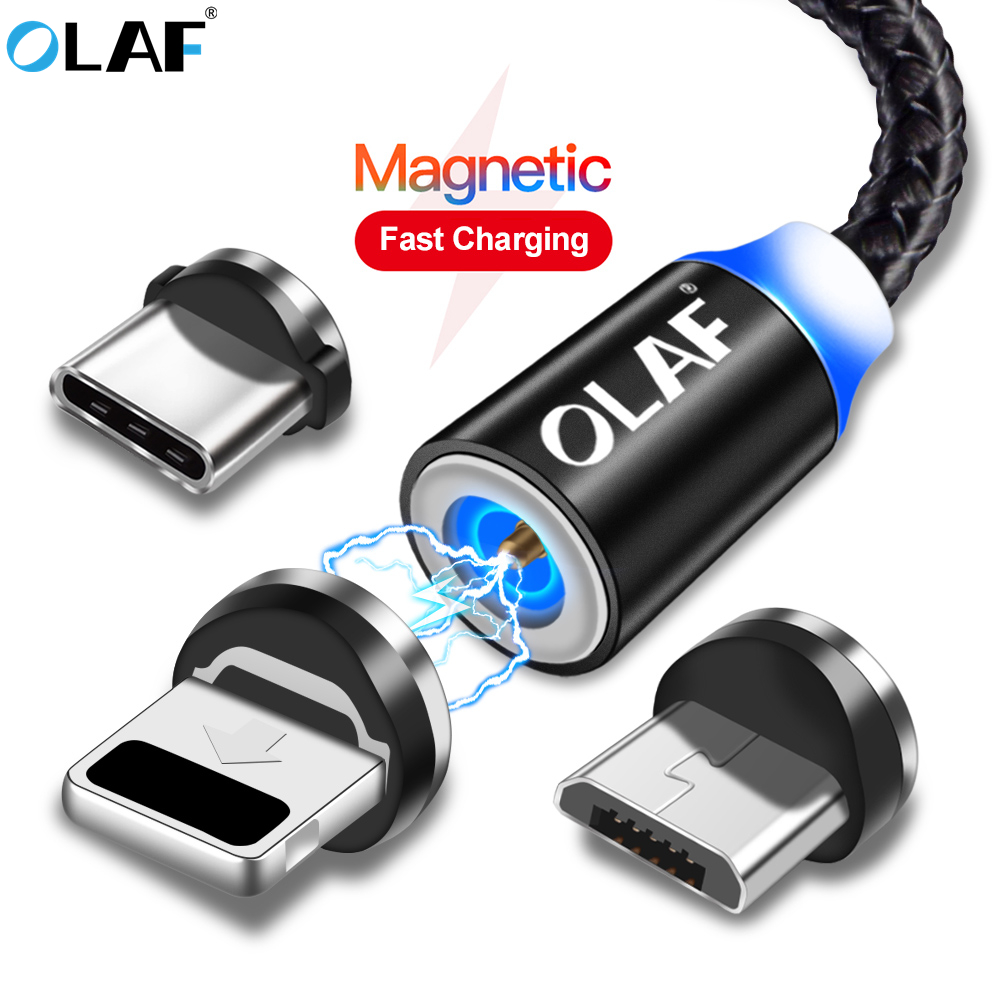 US $0.98 40% OFF|OLAF kabel magnetyczny 3A szybkie ładowanie Micro rodzaj usb C kabel dla iPhone Samsung Xiaomi USB C magnetyczna ładowarka danych
