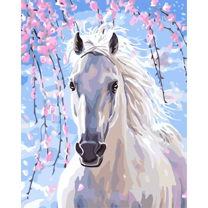 CHENISTORY Rahmen Pferd Tiere DIY Malerei Durch Zahlen Moderne Wand Kunst Bild Malerei Kalligraphie Für Wohnkultur 40x50 cm Kunst