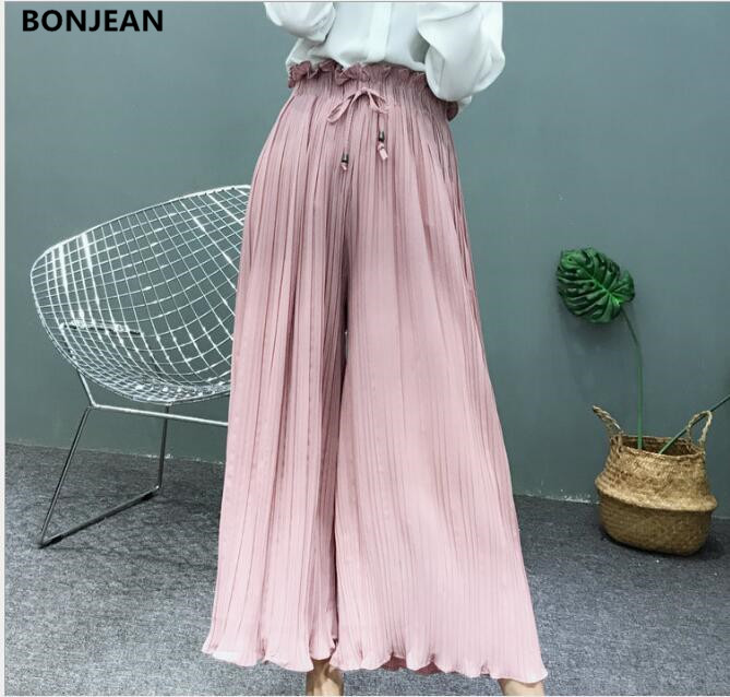 Free Shipping Spring And Autumn Of 2019 Korean High Waisted Pleated Chiffon Flower All-match Wide Leg Pants