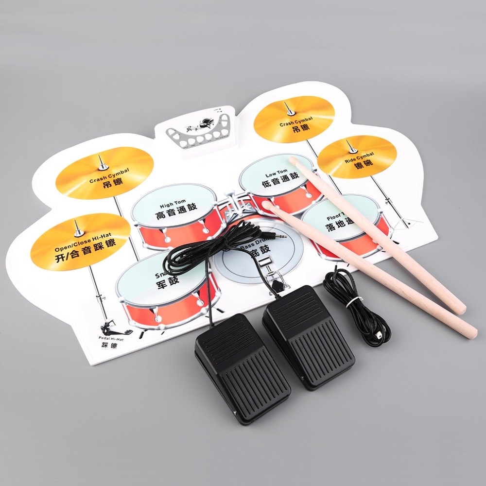 2016 New Silicone Electronic USB Roll Up Drum Kit with Drumsticks Foot Pedal Musical free shipping