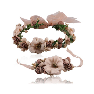 Europe and the United States Mori girl beach vacation simulation flower hair ornaments Bracelet flower performance headdress Bri