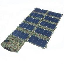 64 w plegable cargador solar portable cargador de la célula solar para el ordenador portátil/teléfono celular dc21v + de doble salida usb de alta eficiencia envío gratuito