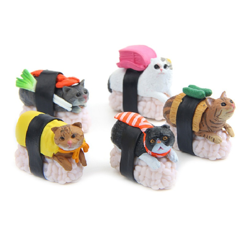 Lovely  Cartoon Sushi Cheese Cat Figurines Cute Cat Dolls for Home Decor Miniatures Ornaments Toys for Kid`s Room