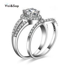 Visisap White gold color vintage icedout couple Rings Set For Women engagement wedding ring fashion jewelry Dropshipping VSR128