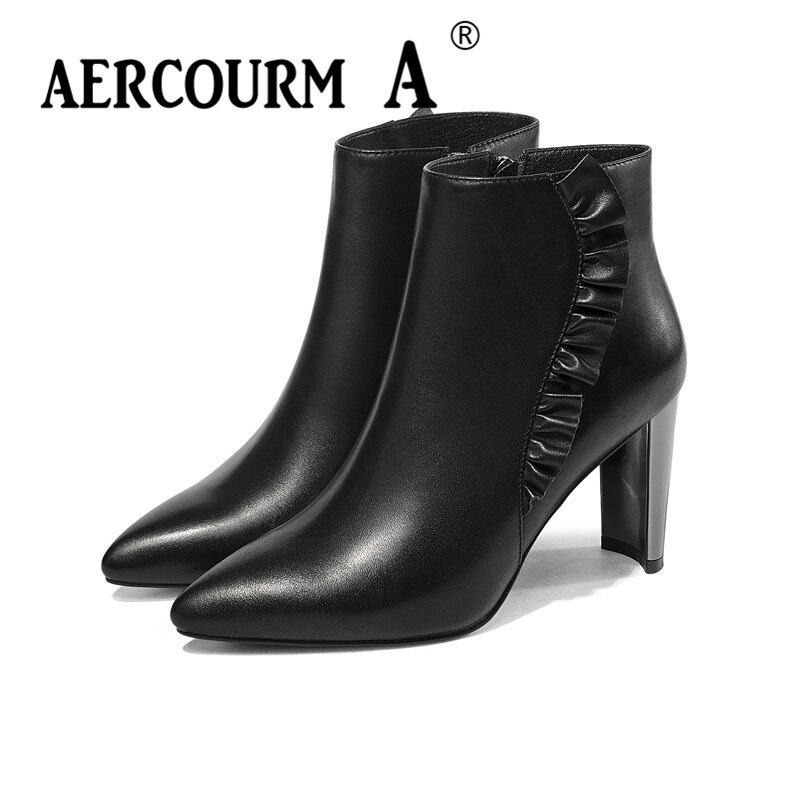 Plush Negro De Aercourm Invierno Felpa Tacón Tobillo 34 Empujar Las 43 Cuero Zapatos Sólido Corta Caliente Genuino Color Botas Alto black Mujeres Negro 4wwdBqFW