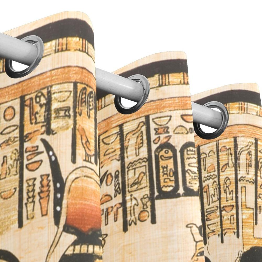 Vintage Egypt Art ผ้าม่านแผง Darkening Blackout Grommet Divider สำหรับ Patio หน้าต่างบานเลื่อนประตู-ใน ผ้าม่าน จาก บ้านและสวน บน   3
