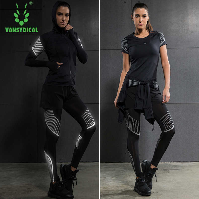 77d7aa85eb ... Brand 2019 Gym Sports Suits Women's Yoga Clothes Set Running Tights Sportswear  Quick Dry Training Fitness ...