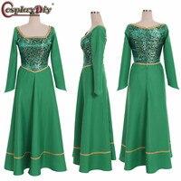 Cosplaydiy Shrek Princess Fiona Green Dress Party Halloween Uniform Outfit Cosplay Costume Women Dresses Custom Made
