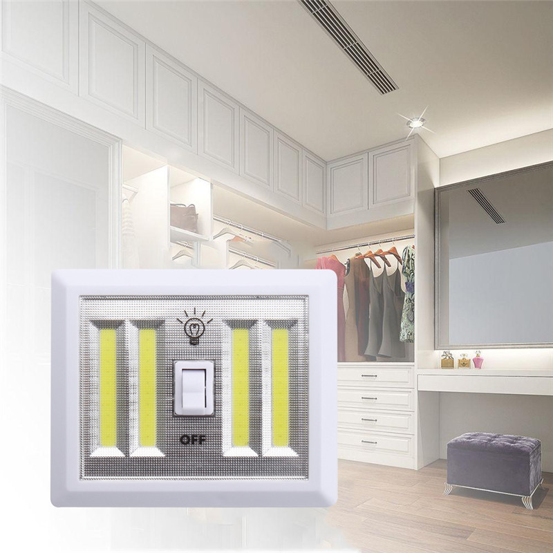 Wireless COB LED White Night Light Battery Power Cordless Switch Closet Cabinet Wall Lamp Home Indoor Lighting DC 6V