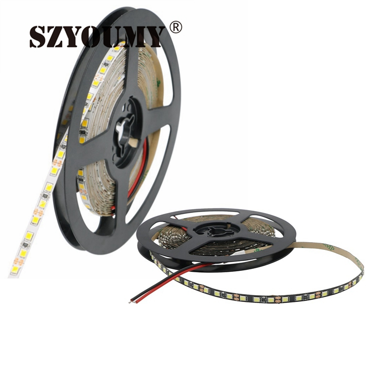 Led Lighting Systematic Szyoumy White/black Pcb 5mm Width 2835 Smd Flexible Led Strip Light 120led/m Dc12v White Non-waterproof 5m Ribbon Tape Light